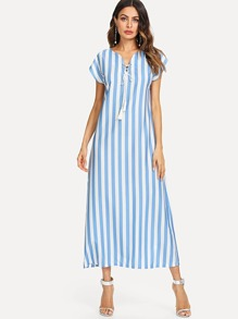 Lace Up Front Stripe Dress
