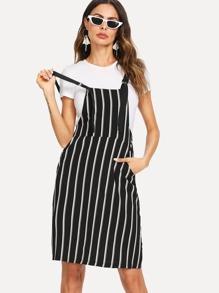 Hidden Pocket Stripe Overall Dress