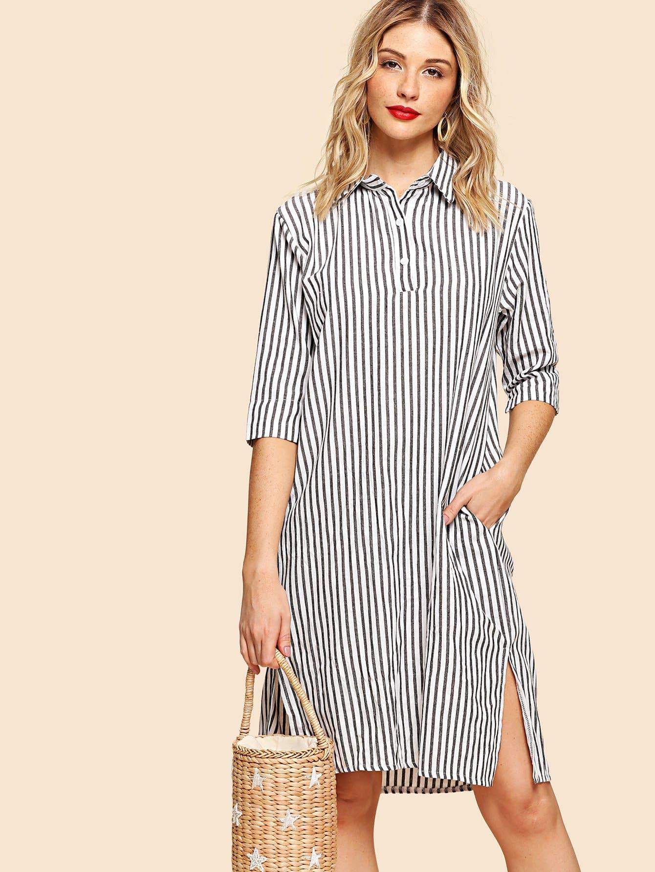 Split Side Hidden Pocket Stripe Shirt Dress kangaroo pocket split side dress