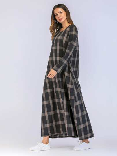 SheIn / Check Plaid Hidden Pocket Longline Dress