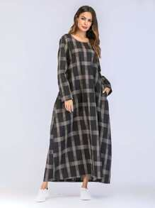 Check Plaid Hidden Pocket Longline Dress