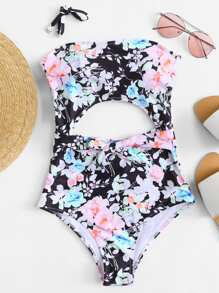 Flower Print Cut Out Swimsuit