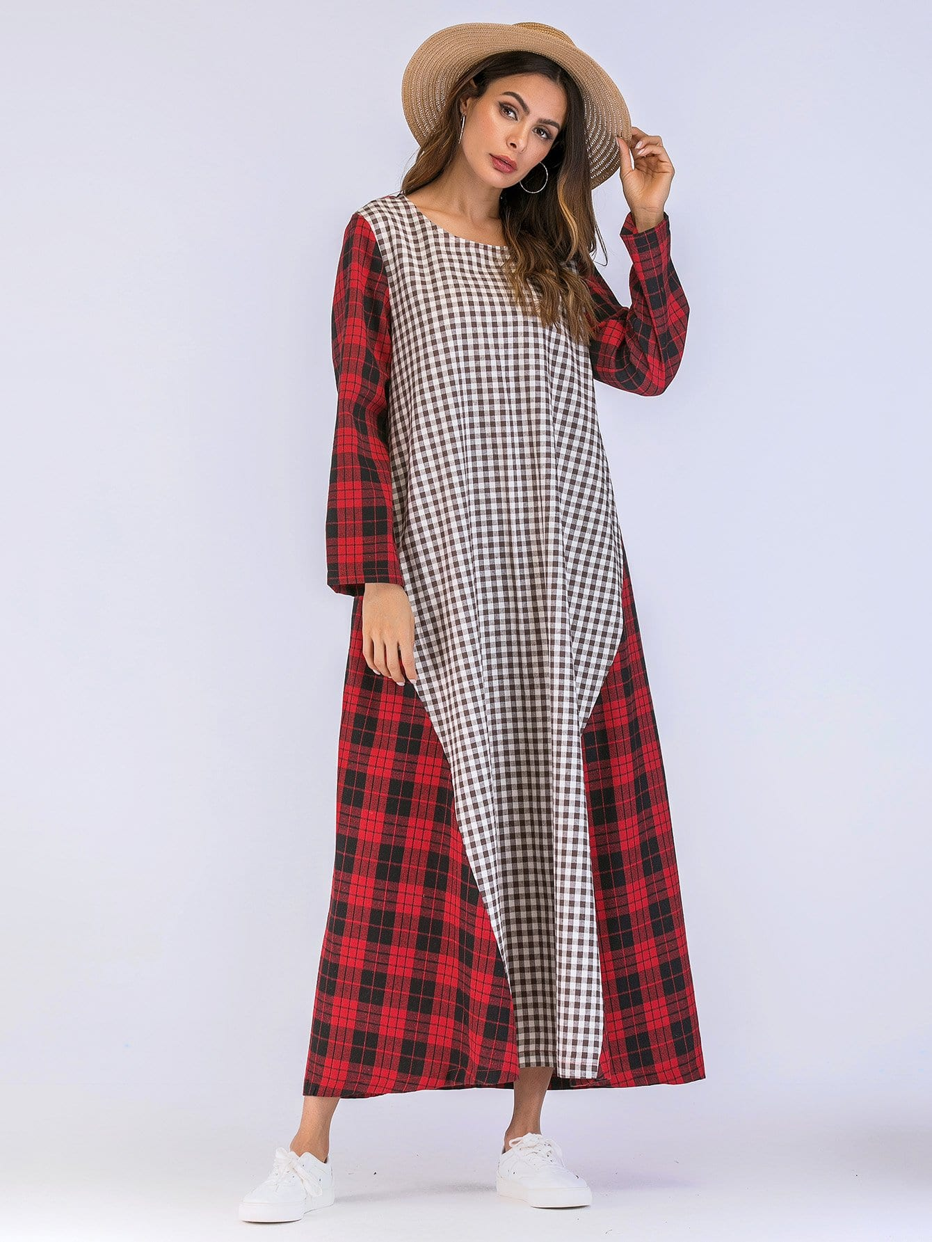 цена на Tartan Plaid Contrast Gingham Dress