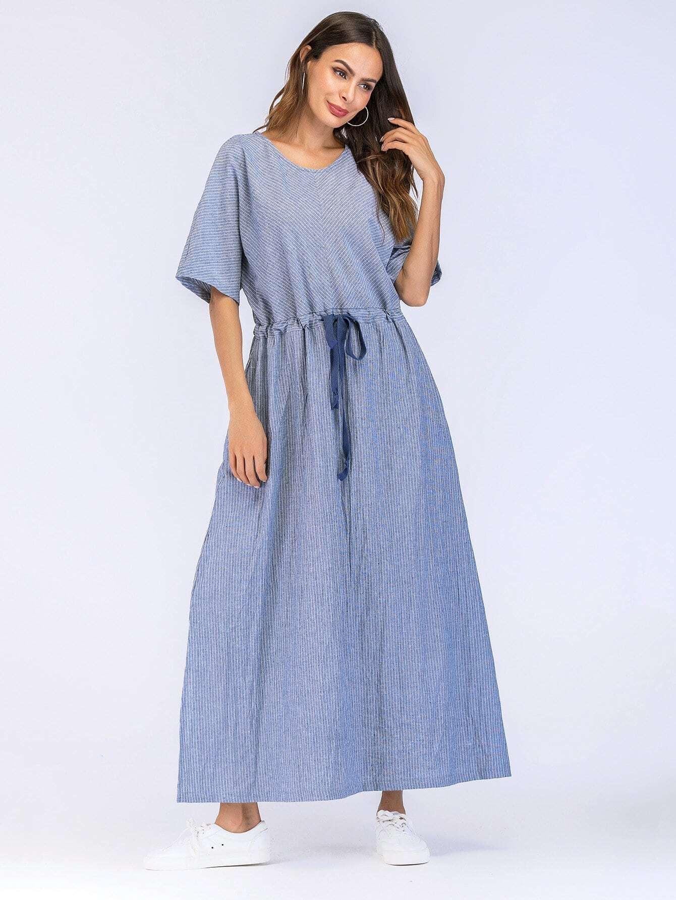 Drawstring Waist Split Side Hidden Pocket Dress kangaroo pocket split side dress
