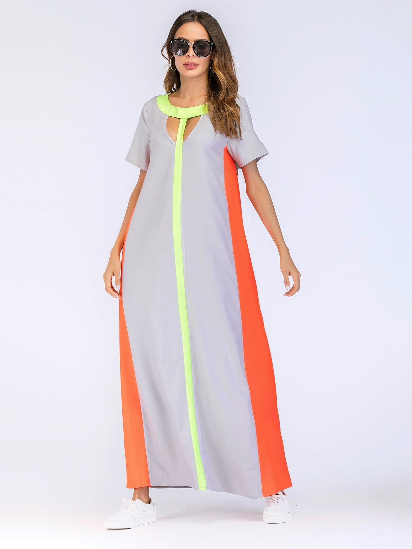 Color Block Cut Out Longline Dress cut out neck color block tee dress