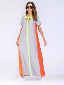 Color Block Cut Out Longline Dress