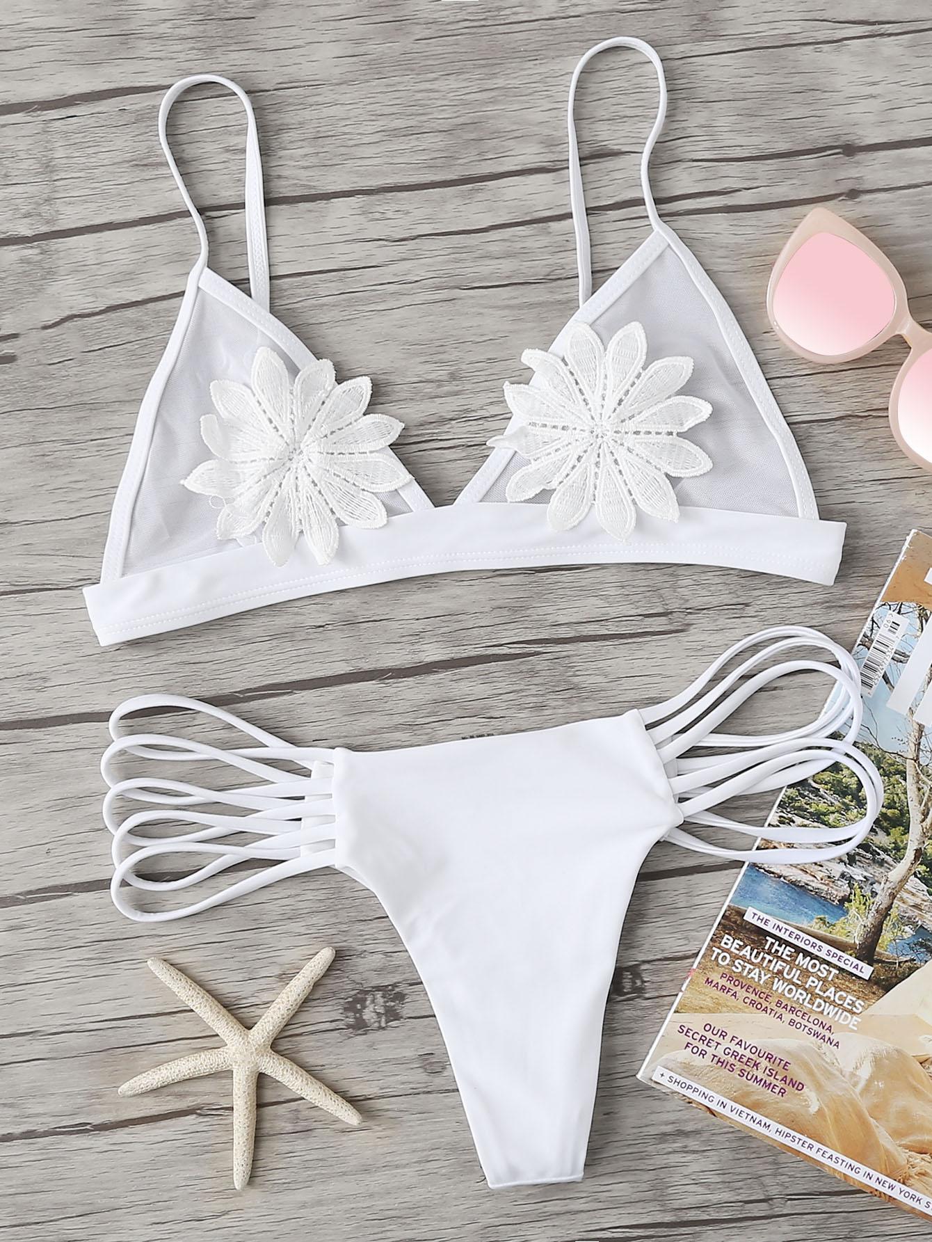 Flower Appliques Bikini Set