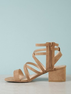 Strappy Caged Chunky Heel