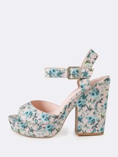 Floral Print Single Band Chunky Platform Heel