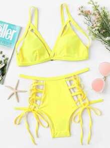 Lace Up Bikini Set
