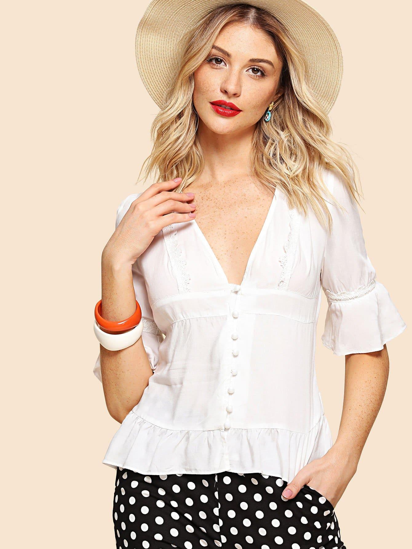 Lace Trim Bell Sleeve Ruffle Hem Blouse lace up ruffle sleeve blouse