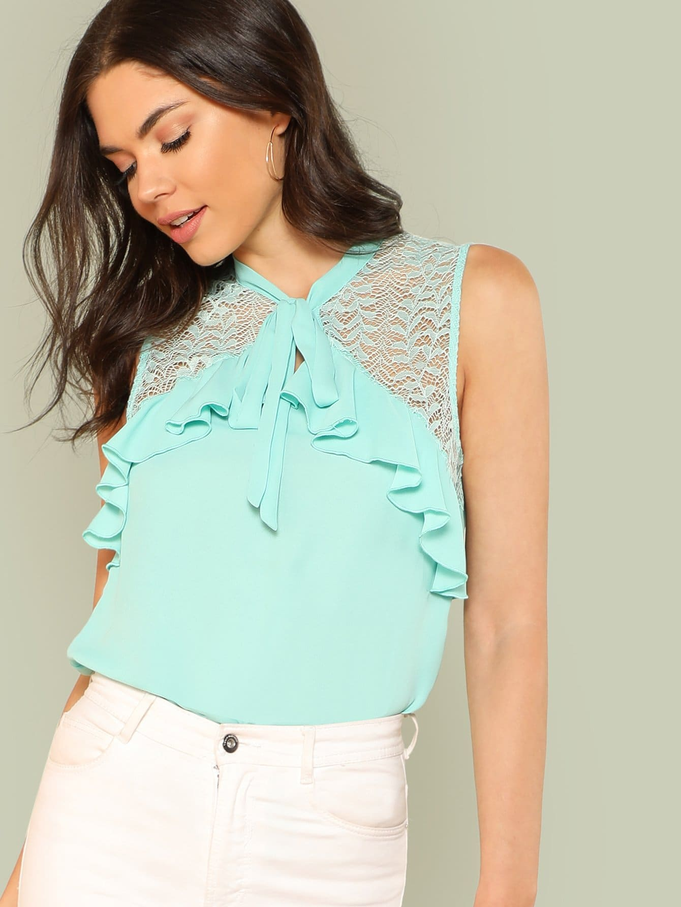 Tied Lace Yoke Sleeveless Ruffle Top ruffle neck lace yoke peplum top