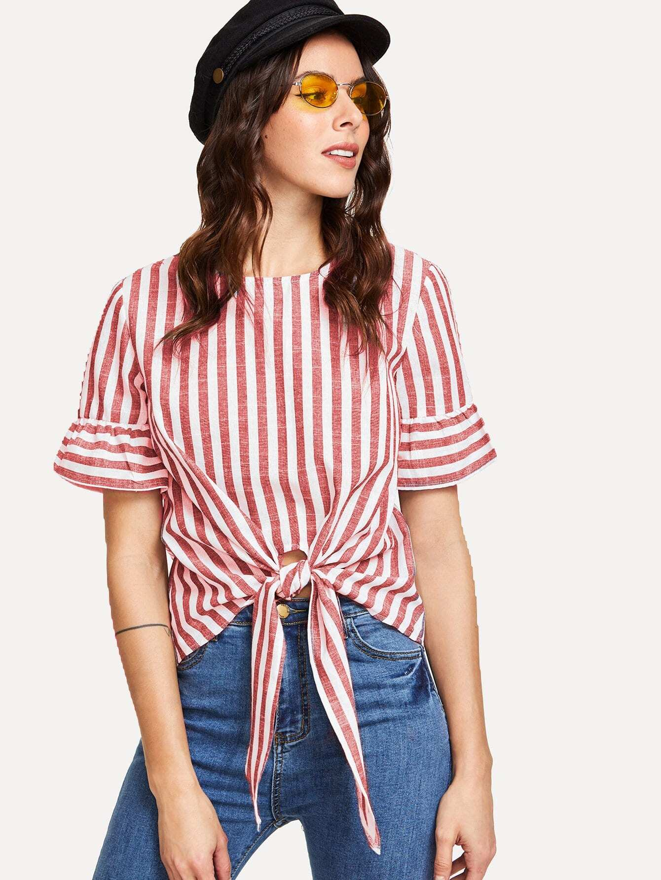 Knot Front Keyhole Back Flounce Sleeve Striped Top zip up back knot plaid top