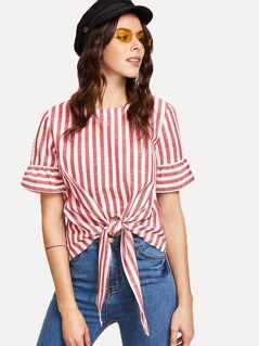 Knot Front Keyhole Back Flounce Sleeve Striped Top