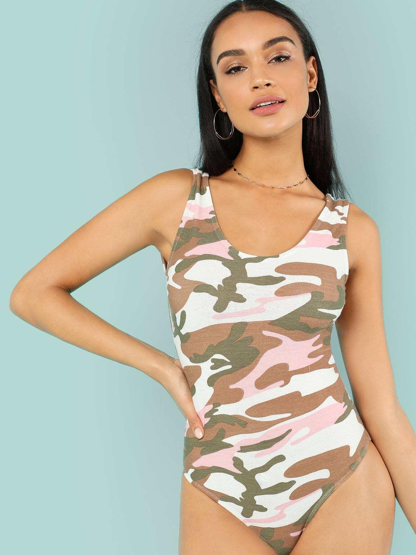 Camo Print Tank Bodysuit цена 2017