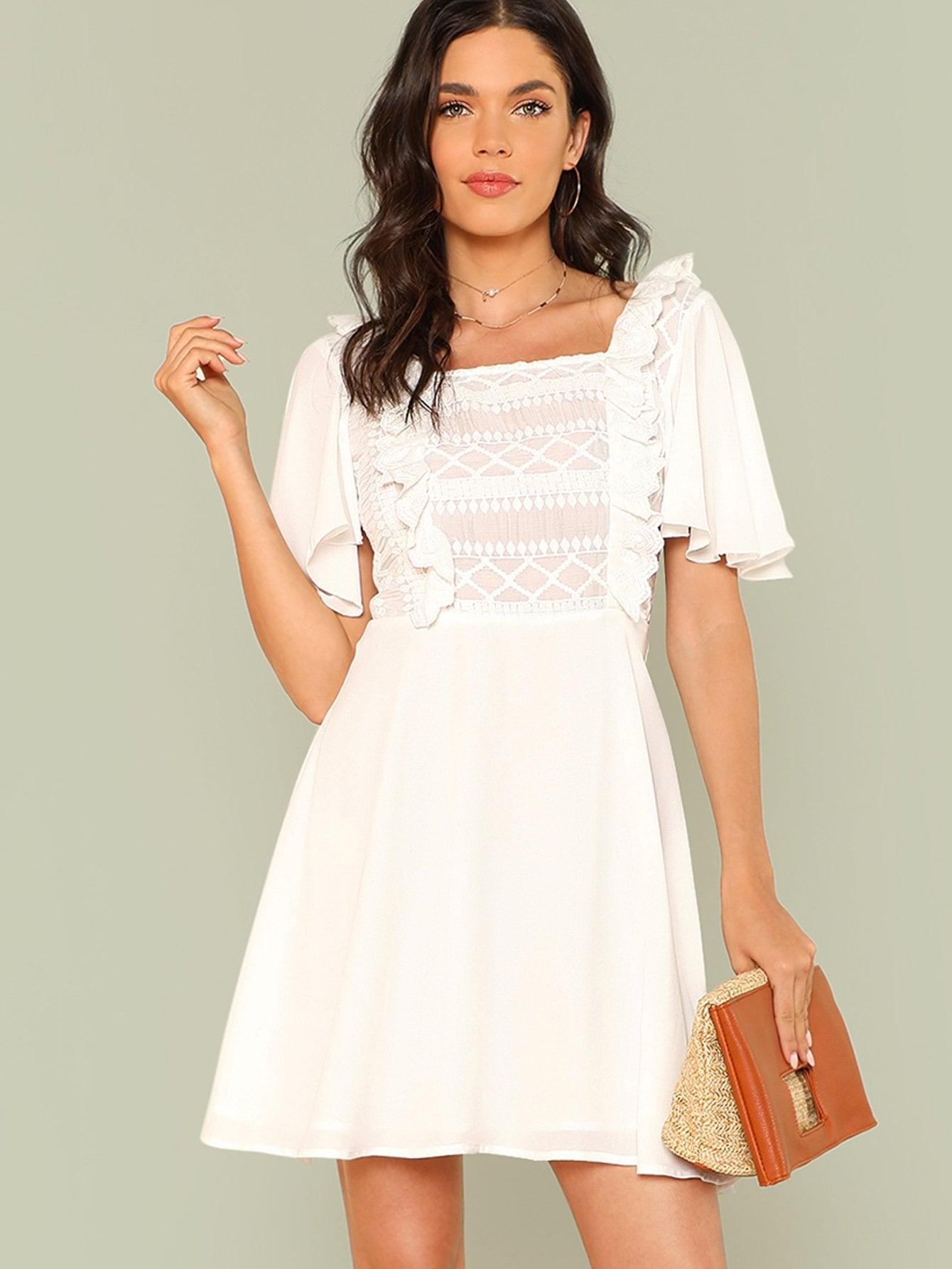 Ruffle Trim Solid Dress one side ruffle trim solid dress