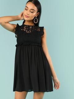 Frill Detail Smock Dress