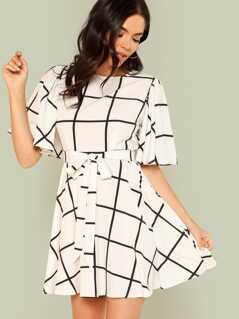 Bell Sleeve Grid Dress with Belt