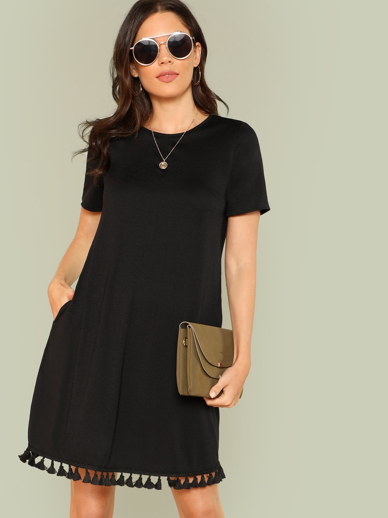 Tassel Hem Tunic Dress все цены