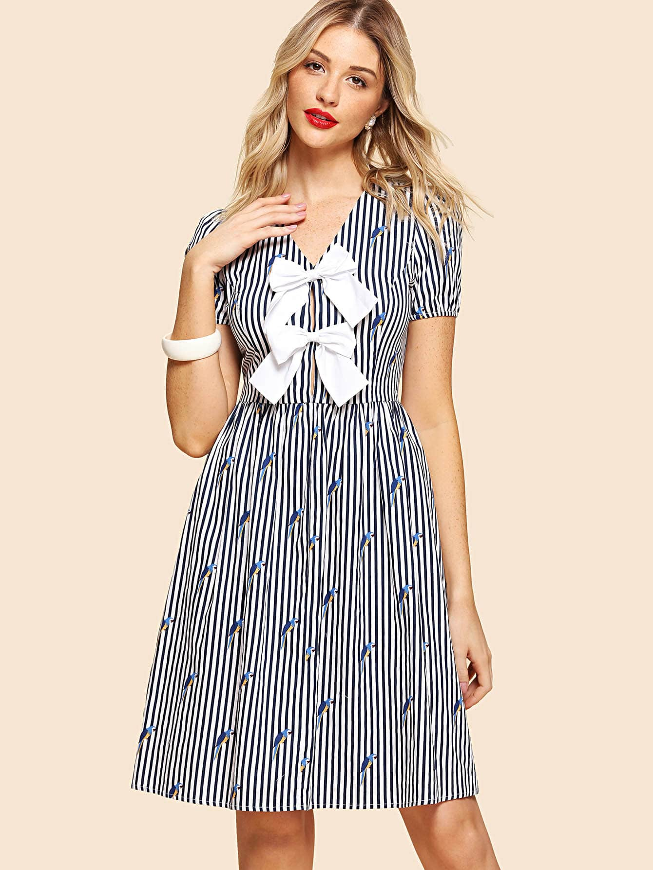 Contrast Bow Front Mixed Print Dress contrast collar foldover front dress