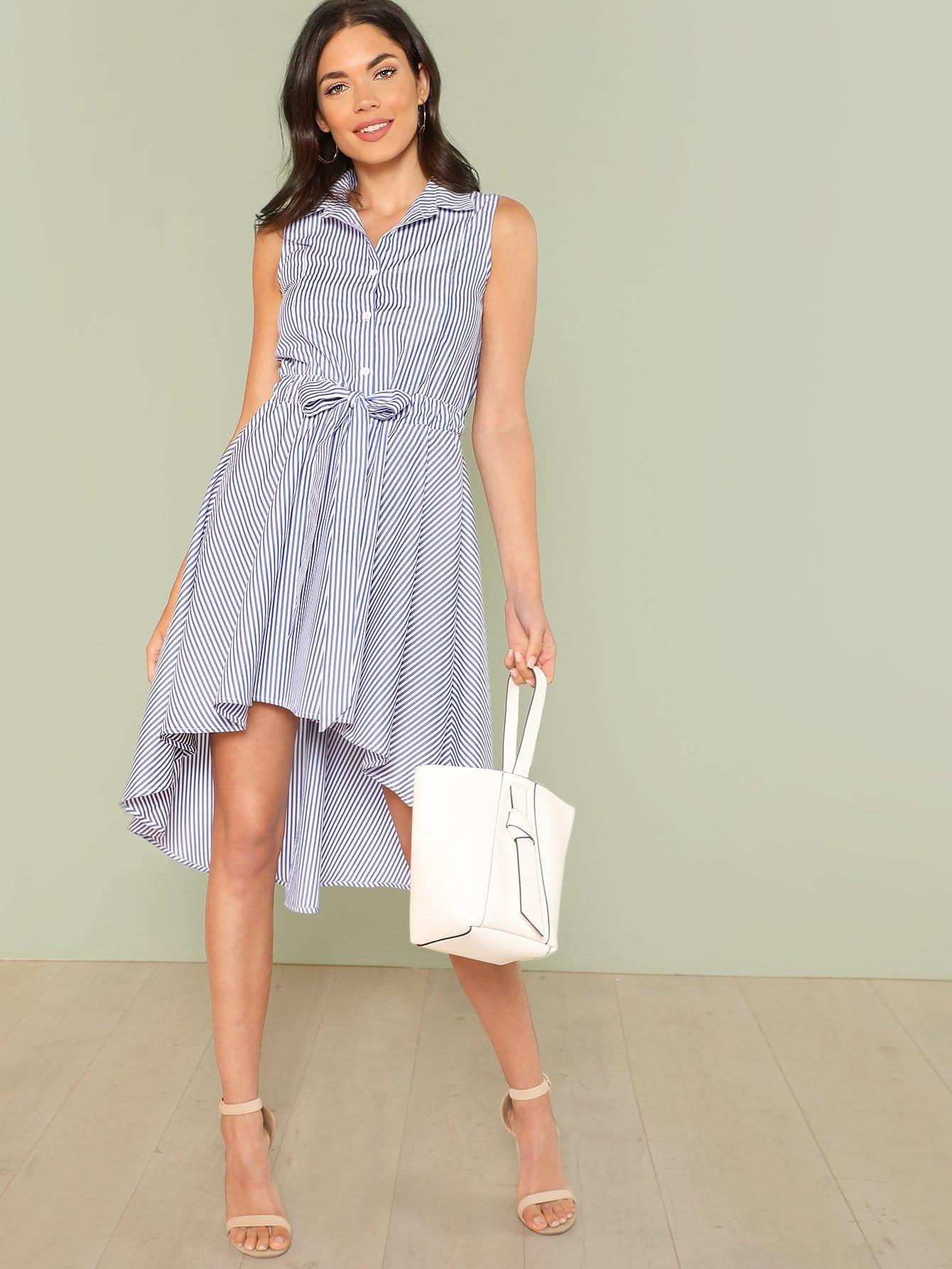 Self Belted Button Front Sleeveless Shirt Dress plus size button up belted pocket shirt dress