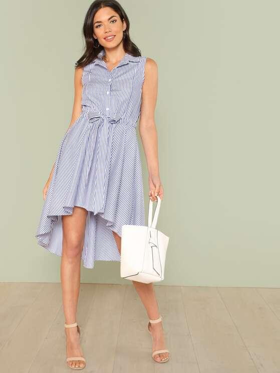 5832fdc4b363 Self Belted Button Front Sleeveless Shirt Dress | MakeMeChic.COM