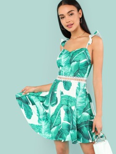 Ruffle Strap Lace Insert Tropical Dress