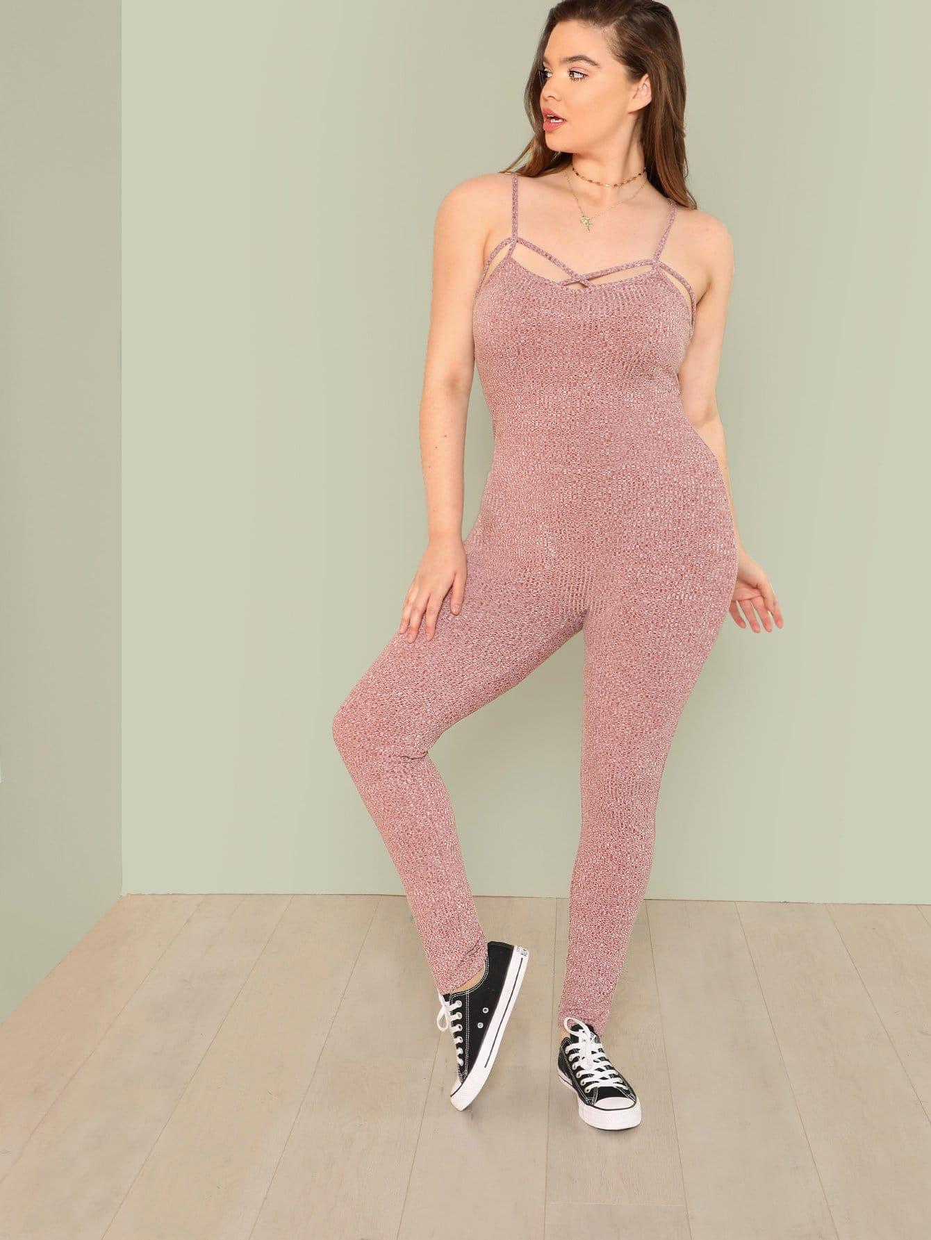 Crisscross Front Skinny Cami Jumpsuit velvet skinny jumpsuit