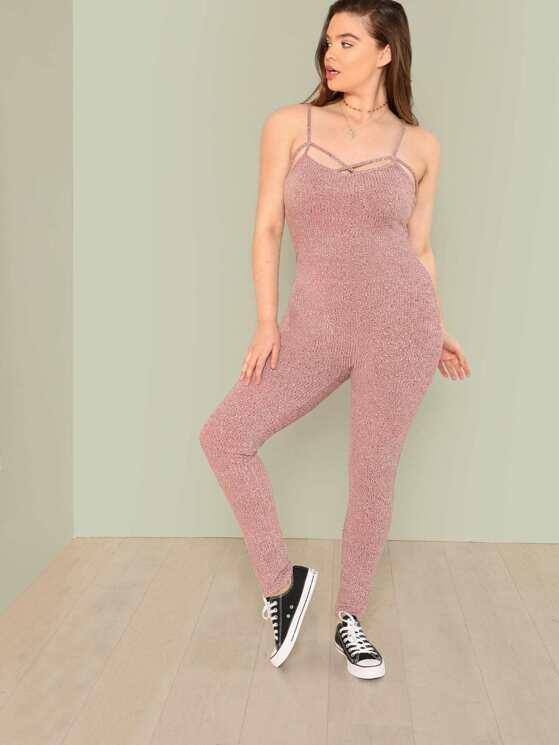 b5e487fd7636 Plus Crisscross Front Skinny Cami Jumpsuit
