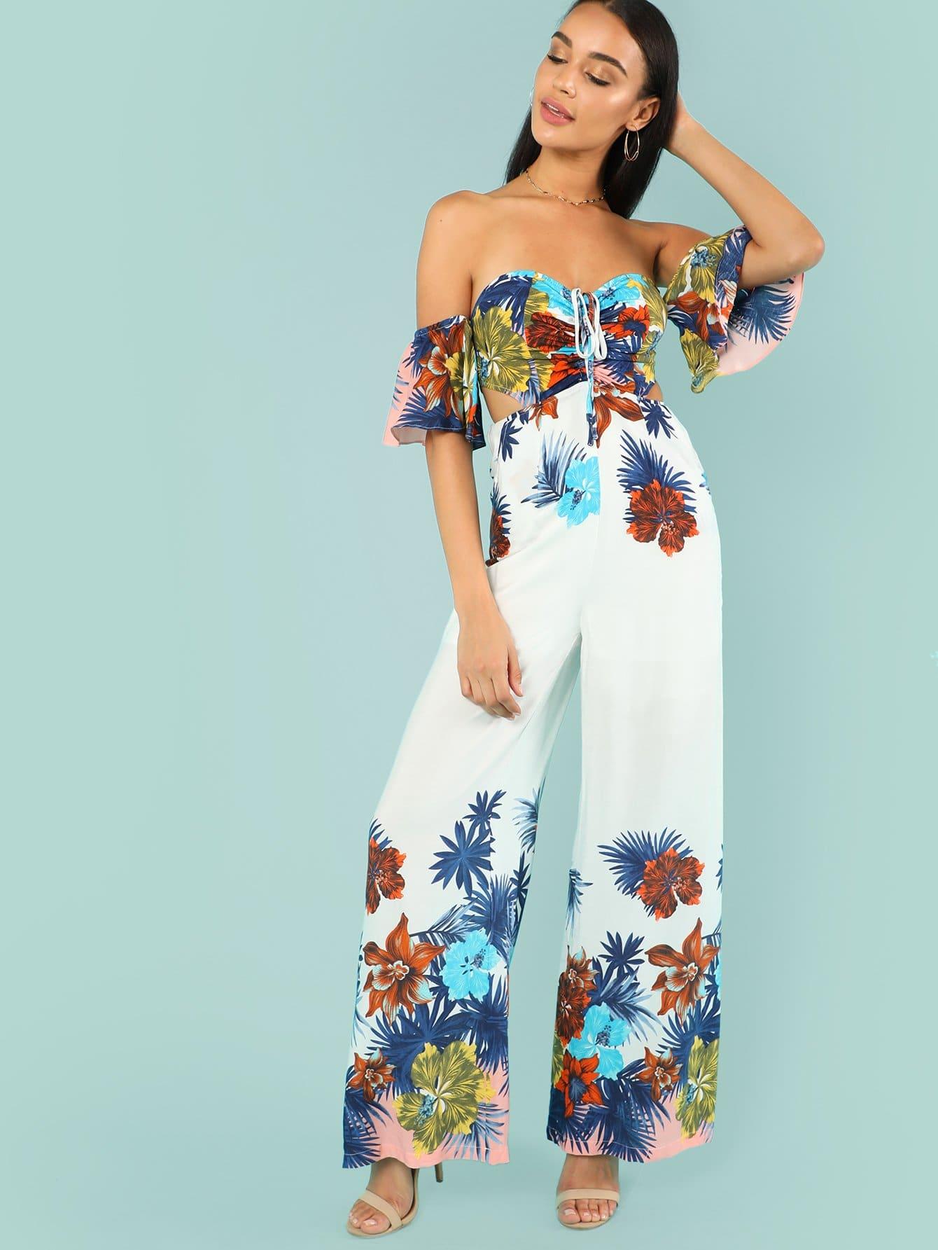 Cutout Side Tropical Bardot Jumpsuit drawstring front cutout midriff tropical jumpsuit
