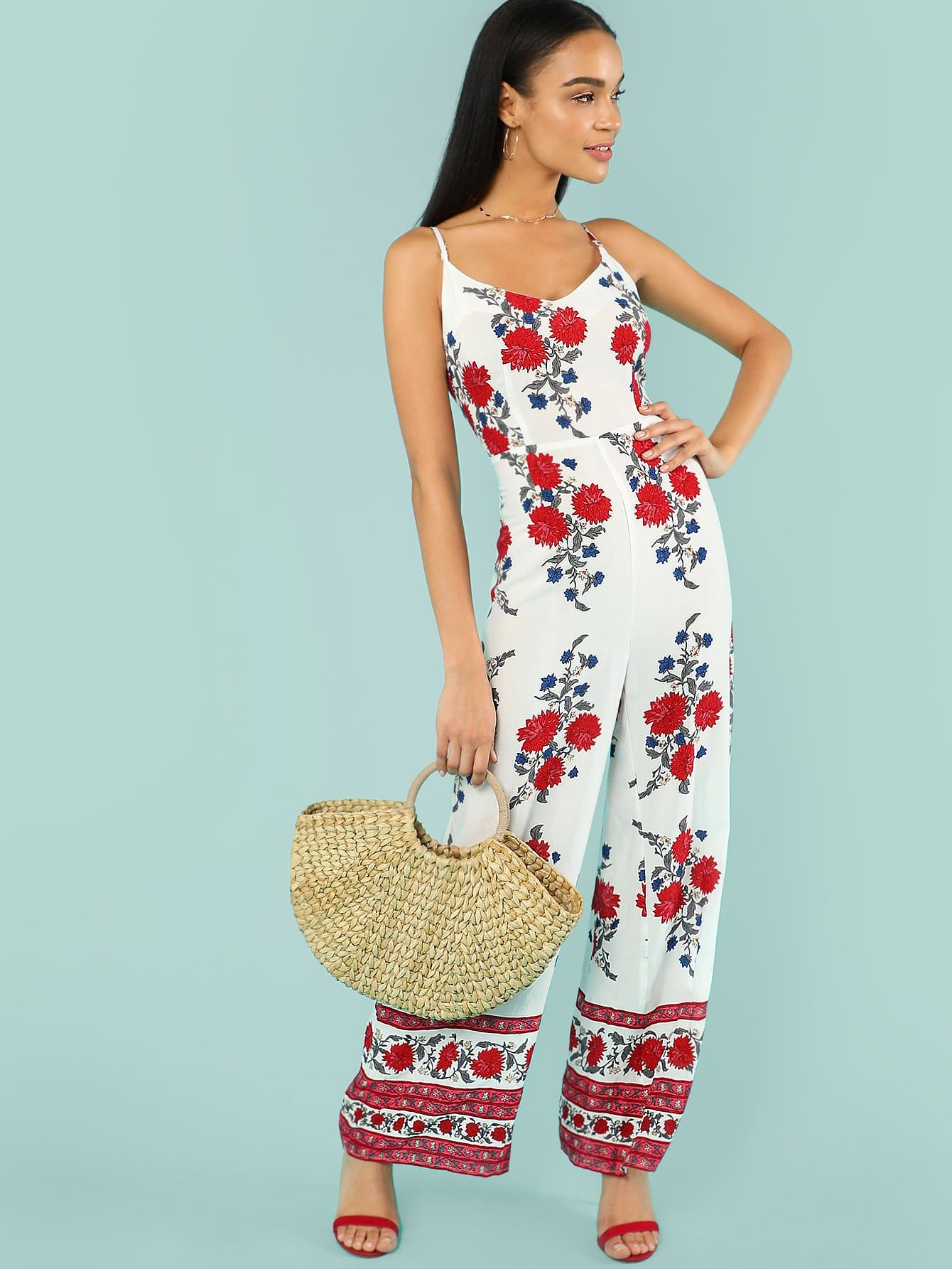 Flower Print Wide Leg Cami Jumpsuit цены