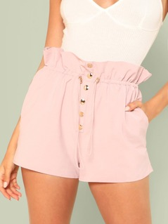 Tie Waist Button Up Shorts