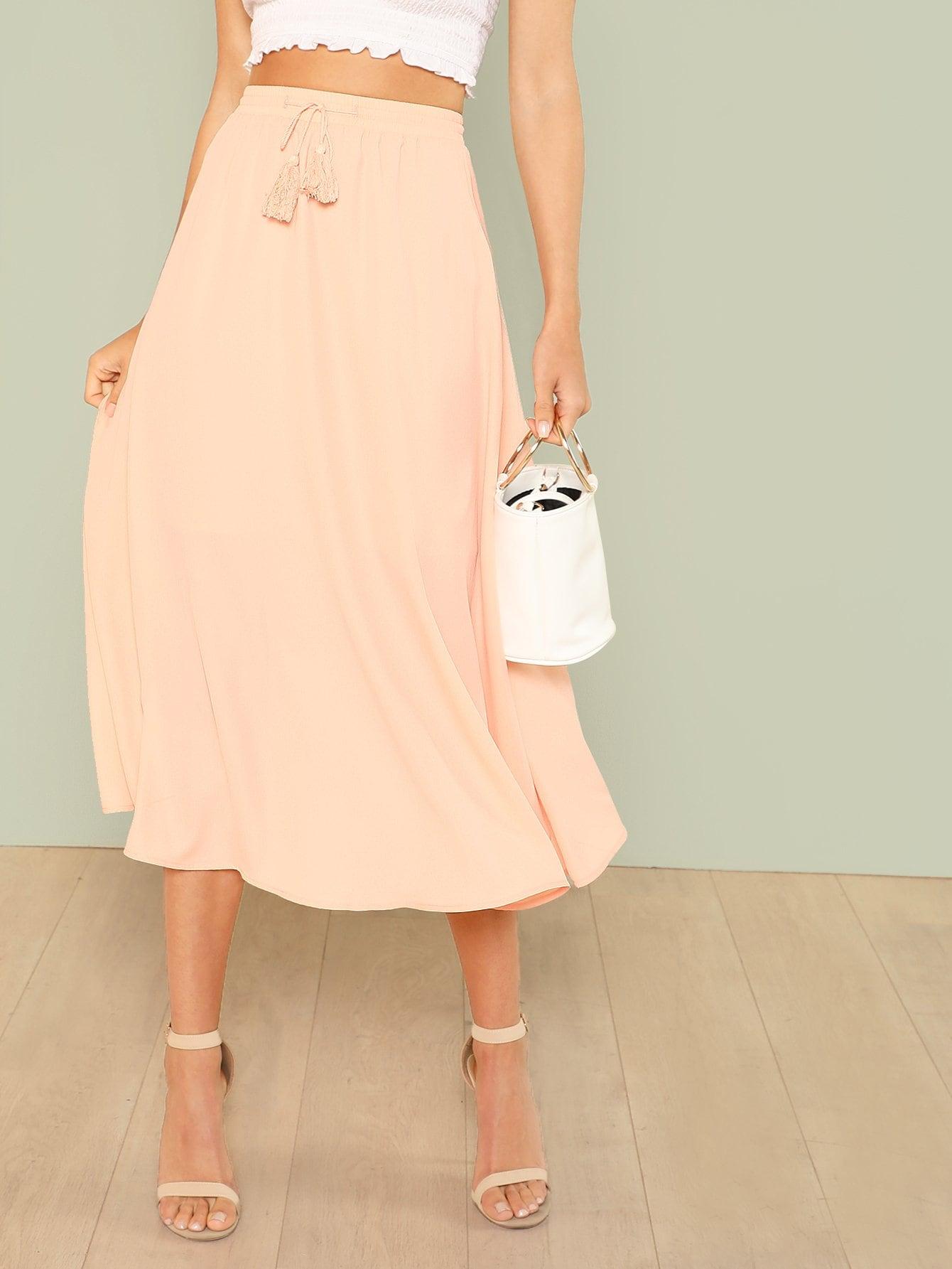 Купить Однотонная юбка с кисточками, Aarika Wolf, SheIn