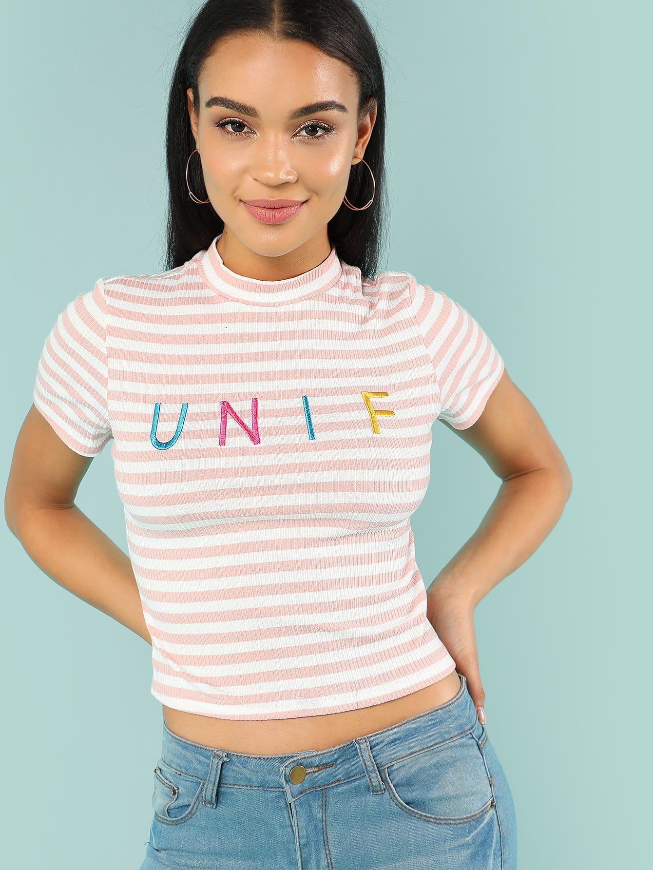Letter Embroidered Rib Knit Striped Tee letter embroidered ribbed knit top