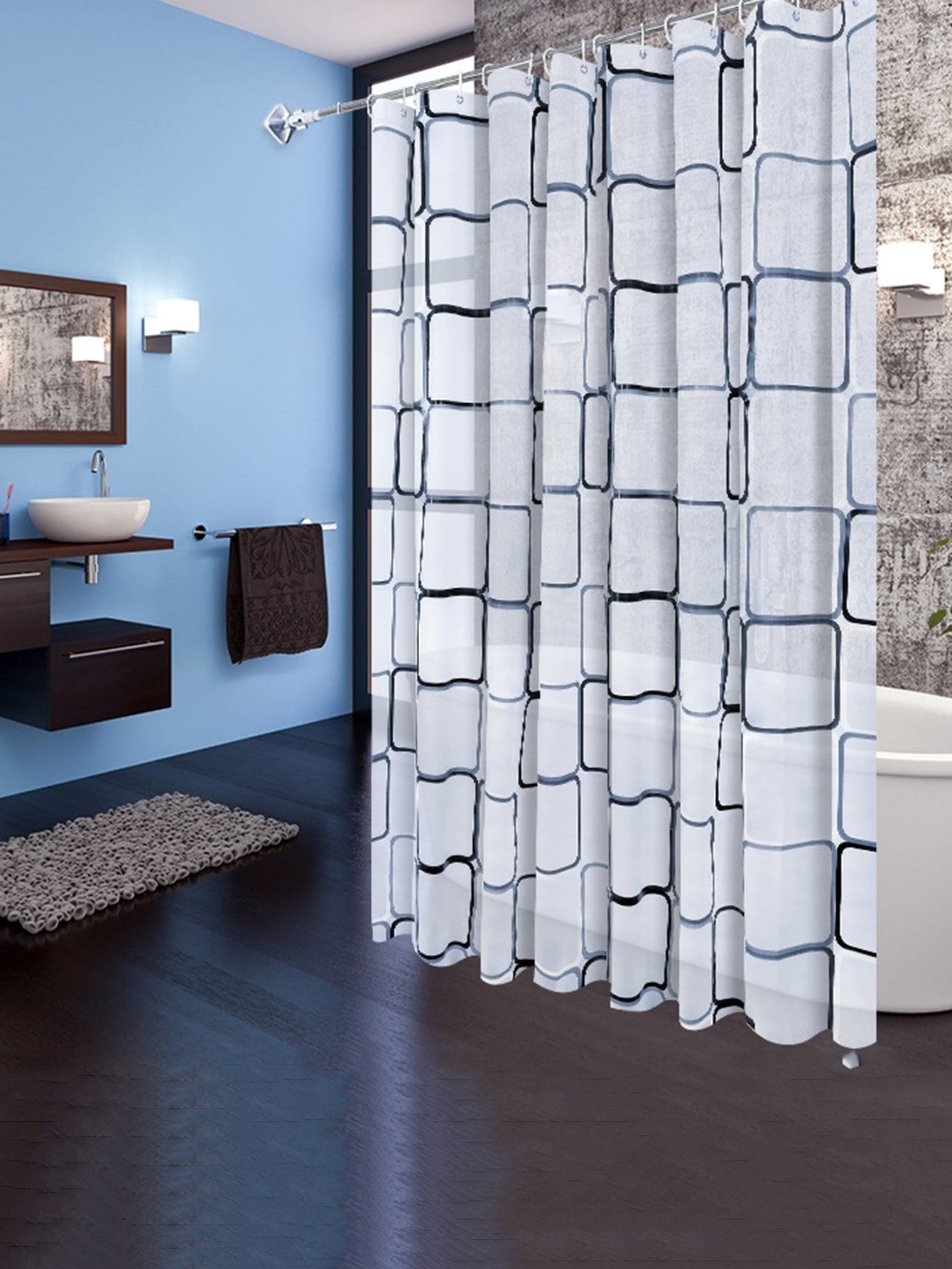 Geometric Eyelet Shower Curtain 1pc With Hook 12pcs geometric shower curtain with 12pcs hook