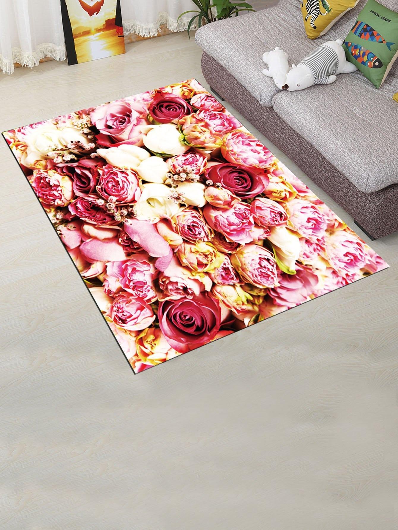 Flower Overlay Mat feather overlay print door mat