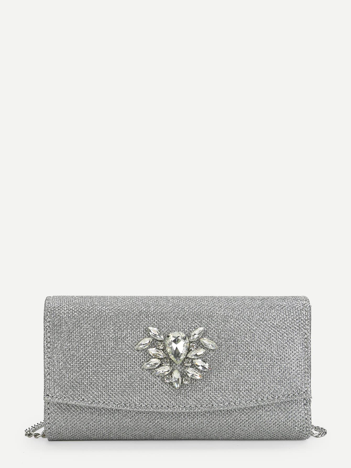 Rhinestone Decorated Flap Clutch Bag rhinestone decorated shoulder bag