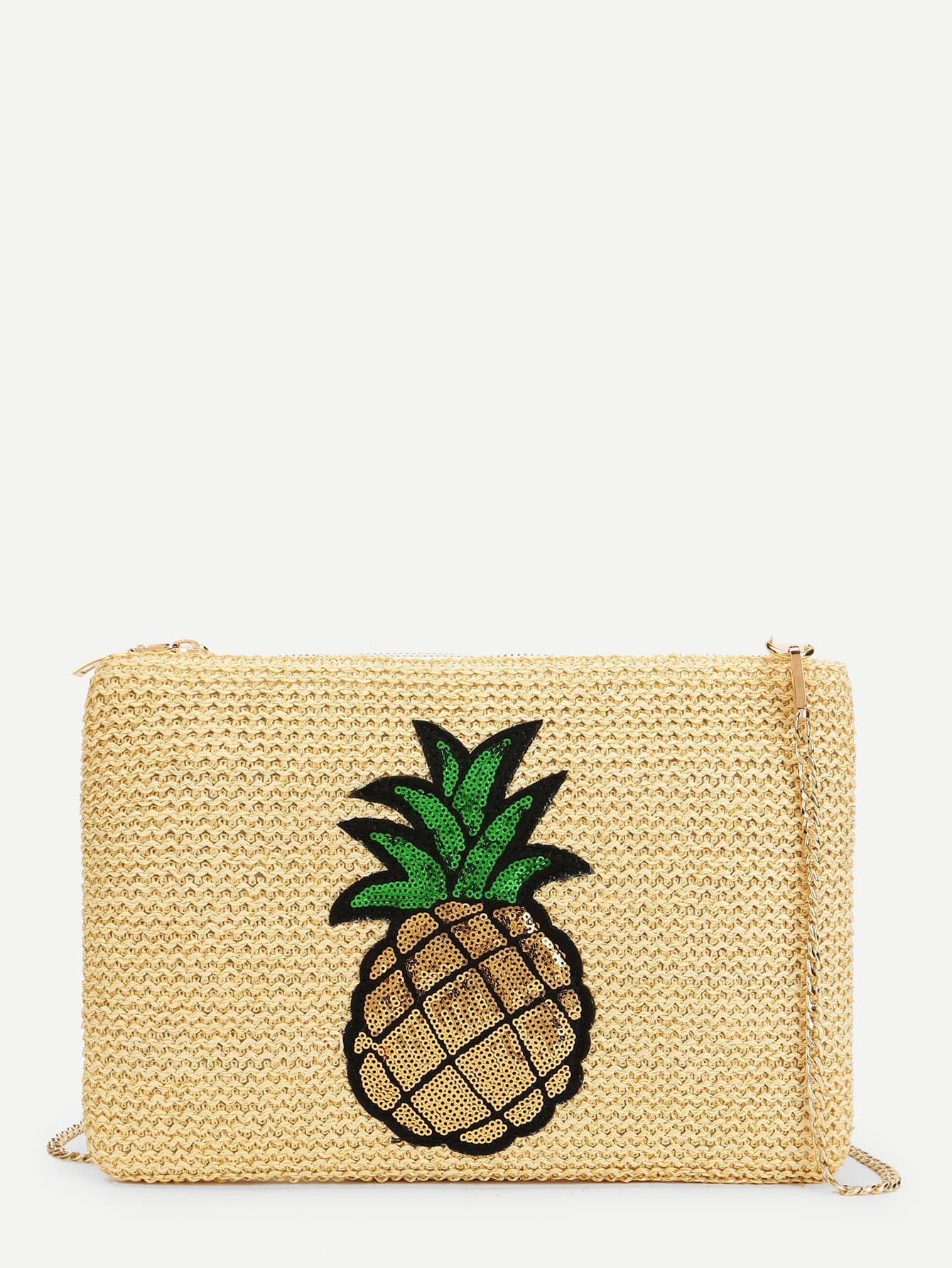 Pineapple Pattern Straw Chain Bag palm tree pattern straw chain bag