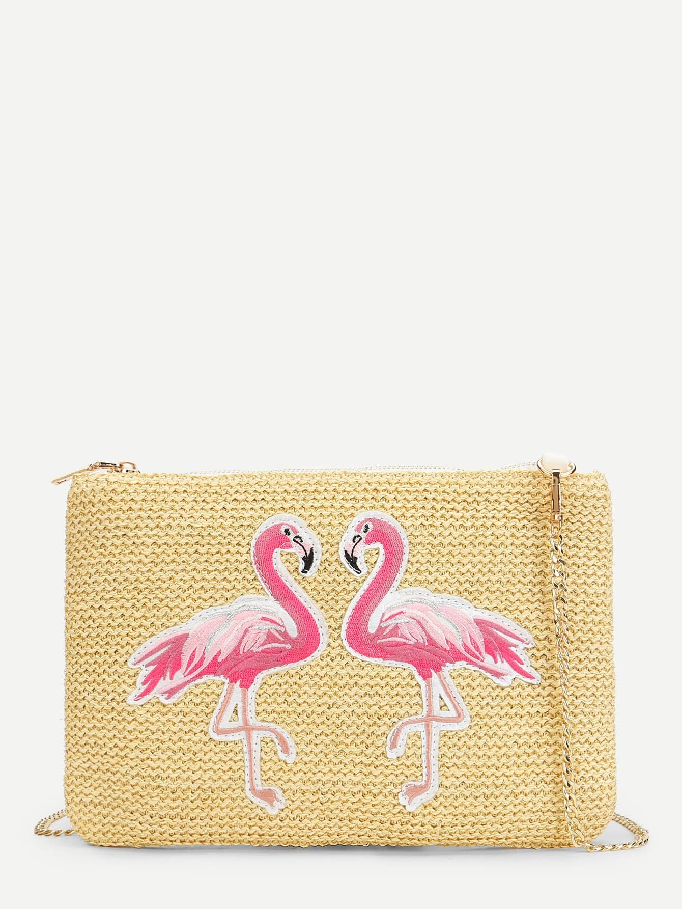 Double Flamingo Pattern Straw Chain Bag straw flamingo embroidered tote bag