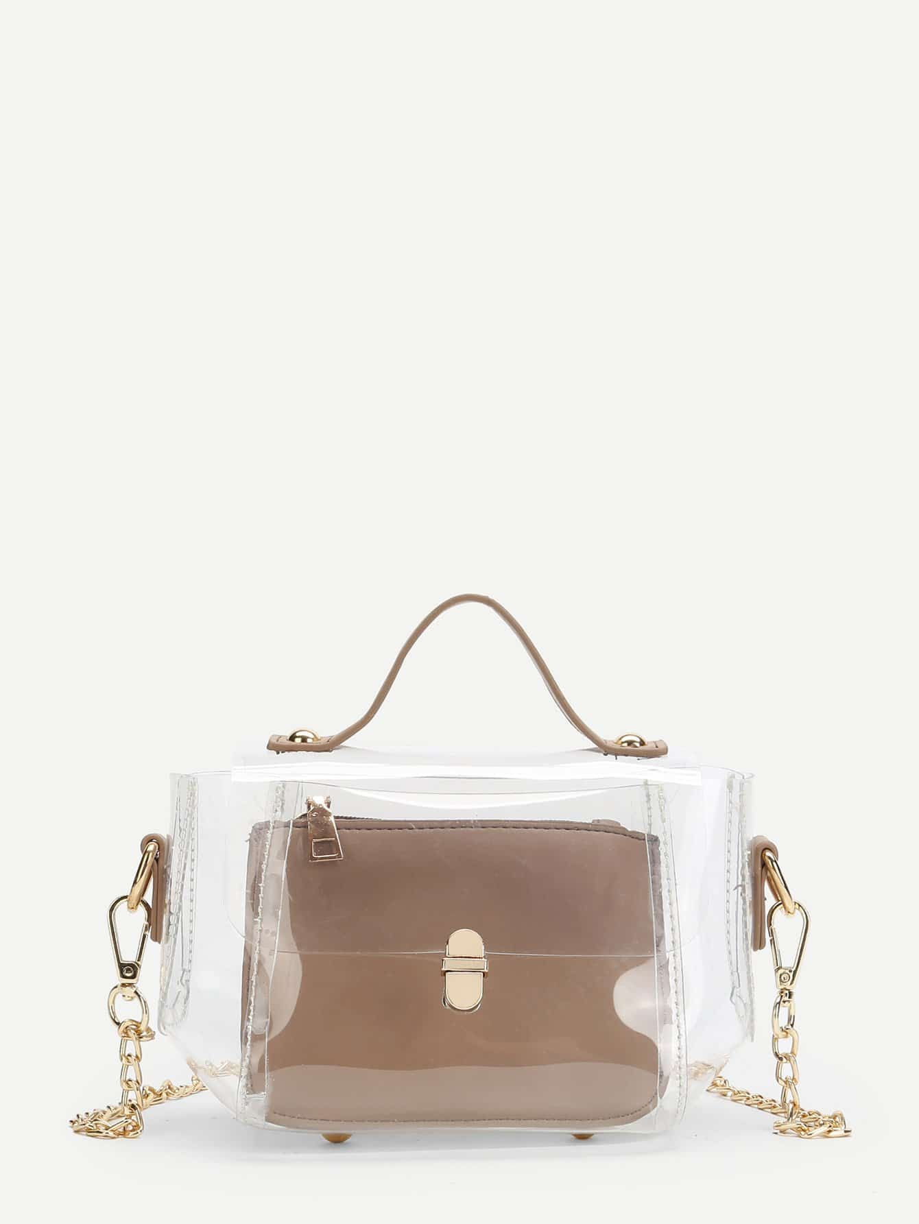 Clear Chain Bag With Inner Pouch clear design chain bag with inner pouch