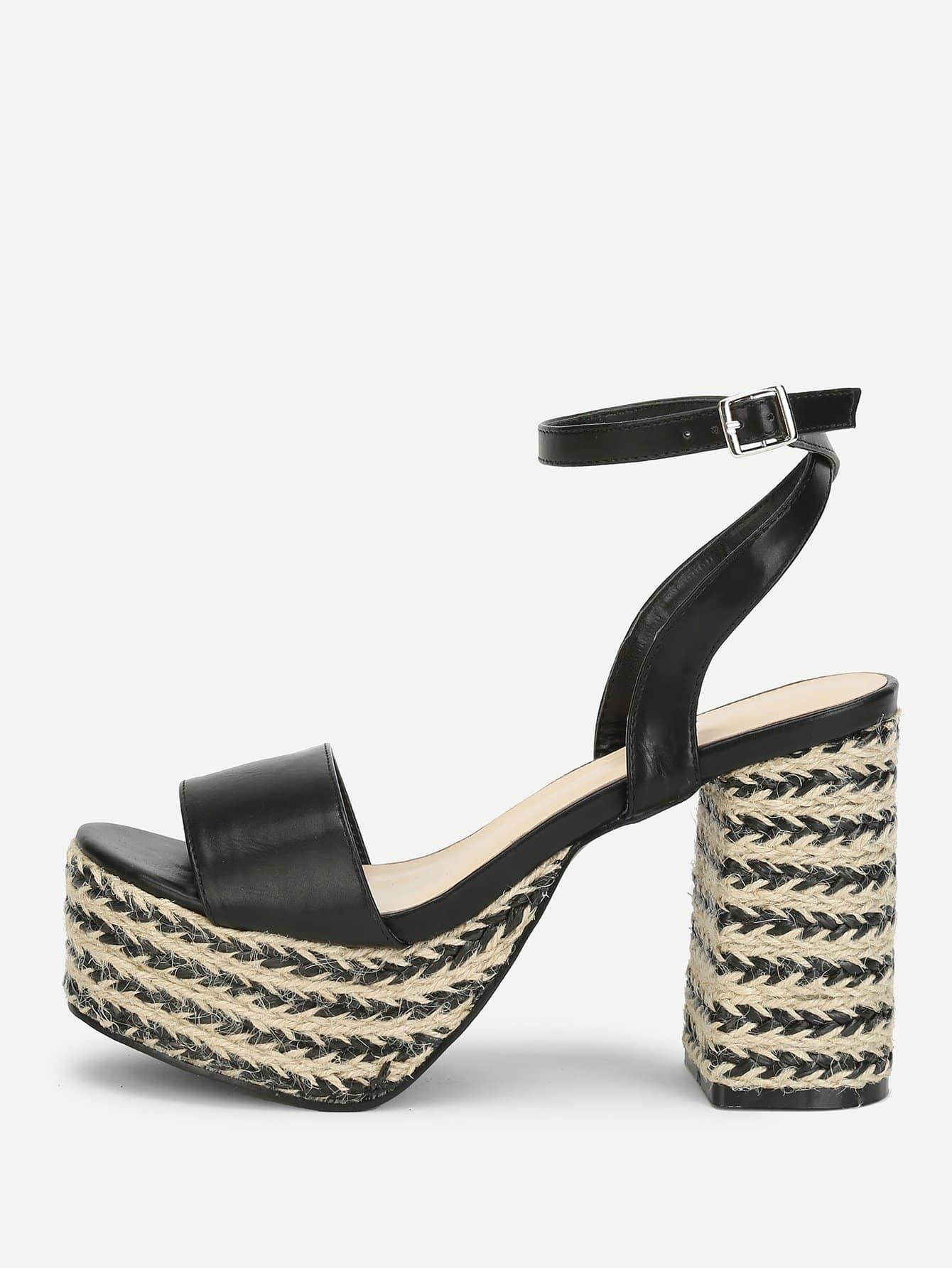Ankle Strap Platform Heeled Sandals ankle strap block heeled pu sandals