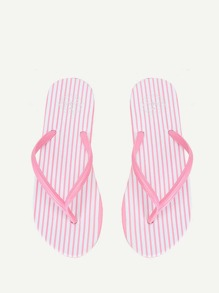 Striped Design Toe Post Slippers