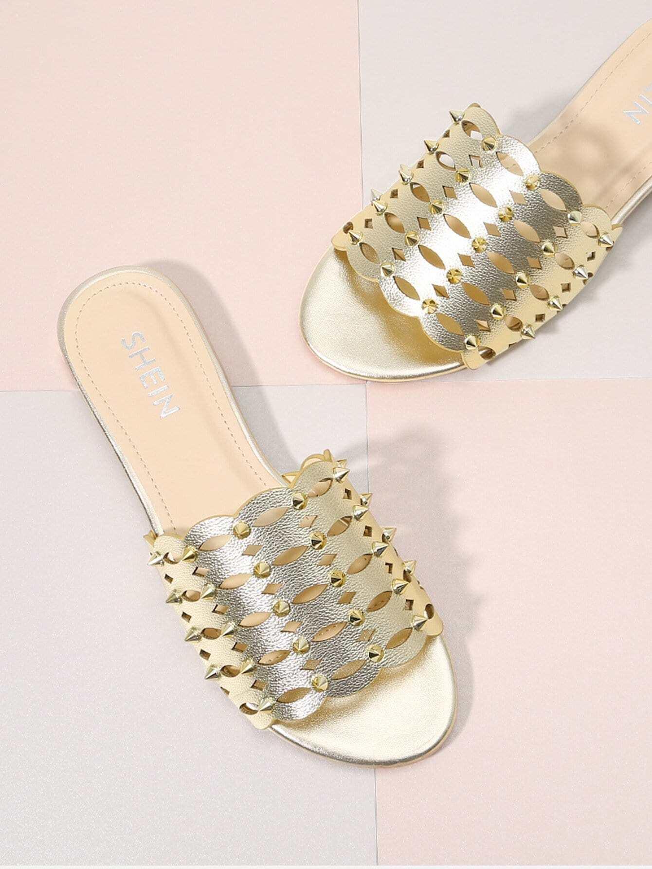 Laser Cut Rivet Detail Slides rivet detail gladiator chunky heels