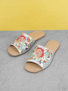 Flower Embroidered Flat Sandals
