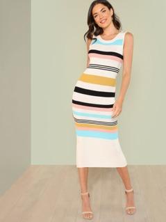 Ribbed Knit Sleeveless Maxi Dress