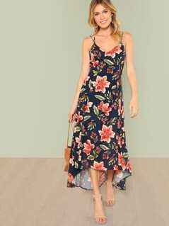 Floral Print Lattice Back Maxi Dress