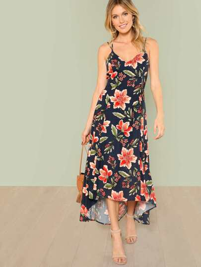 Floral Print Lattice Back Maxi Dress