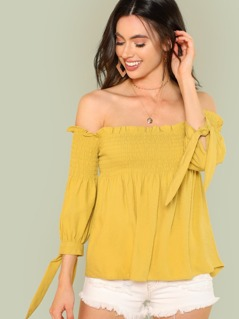 Smocked Bardot Top with Tie Sleeves