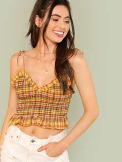 Plaid Print Ruffle Crop Top with Shoulder Ties