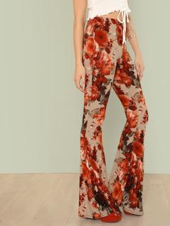 Floral Print Bell Bottom Pants